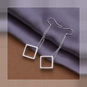 Sterling Silver Dangling Grid Earrings